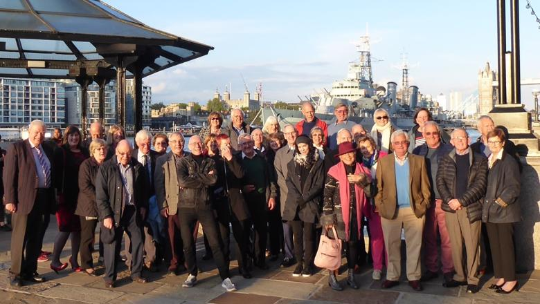 Guy's Hospital 69 Club in front of Hays Galleria with HMS Belfast as a backdrop
