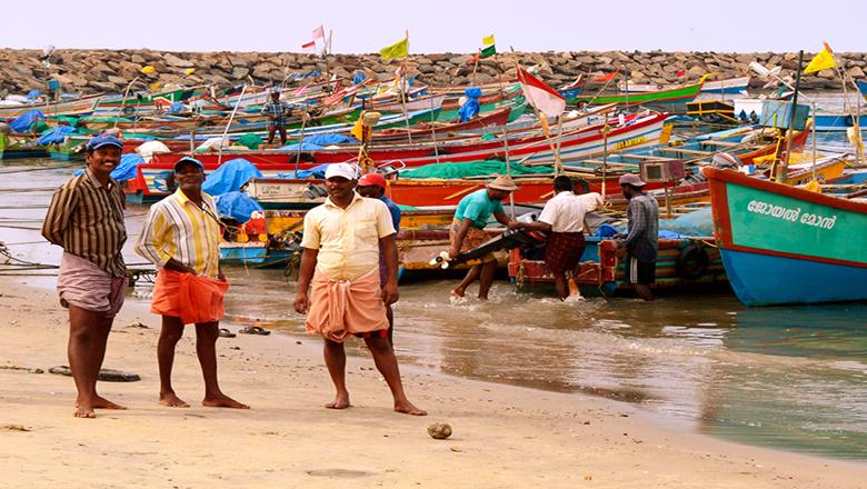 Boats on the beach in Kerala