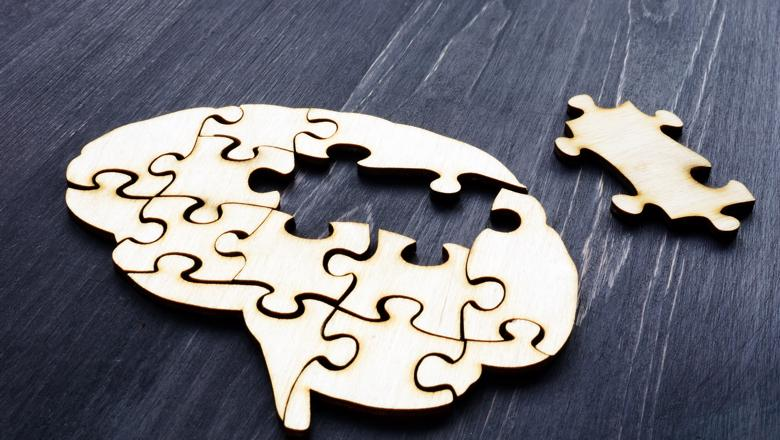 Brain jigsaw with a puzzle piece taken out and laid next to it