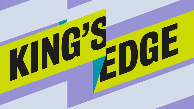 Purple and yellow ribbon graphic with the words King's Edge