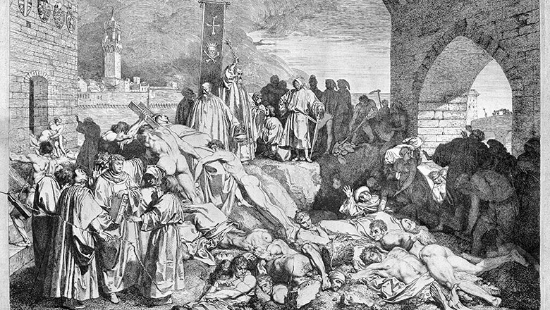 A black and white illustration of the 1348 Plague of Florence as described in Boccaccio's Decameron