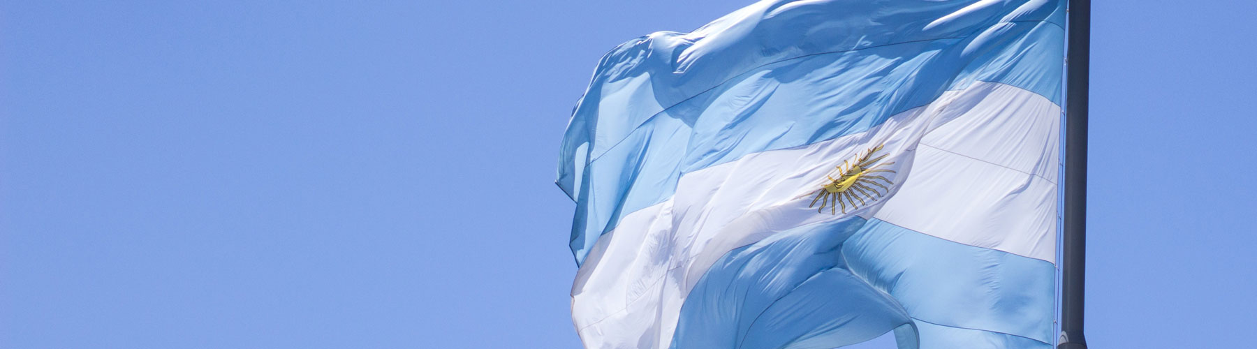The Argentinian flag flaps in the wind