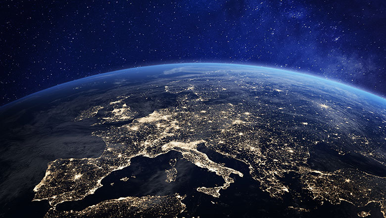 An image of Europe lit up from space