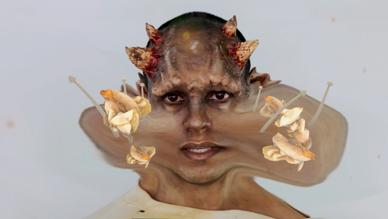 Man wearing horn prosthetics, digitally distorted with stretched cheeks and mushrooms added