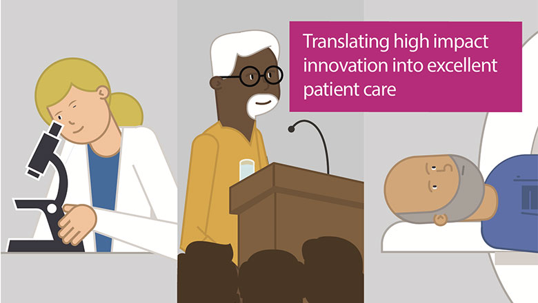An infographic of a scientist, lecturer and patient representing the work of King's Health Partners