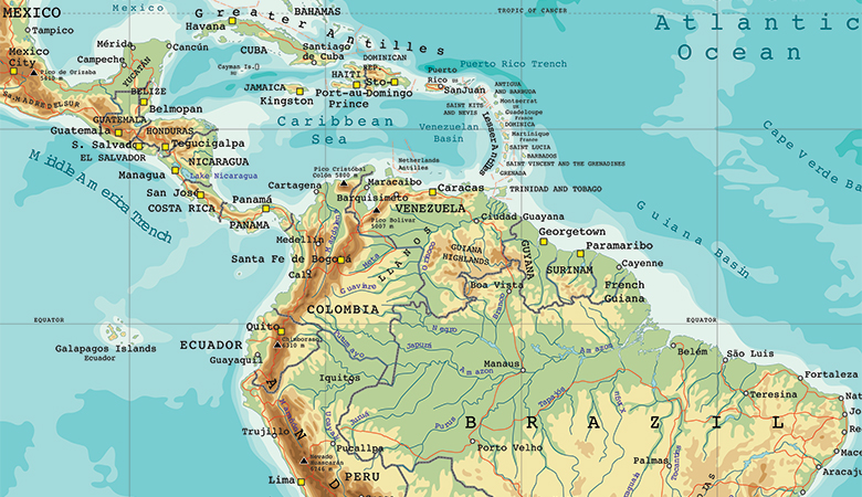 Map of an area of Latin America