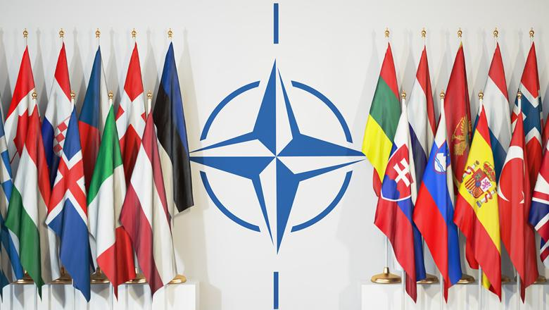 Image of Nato logo amidst member flags