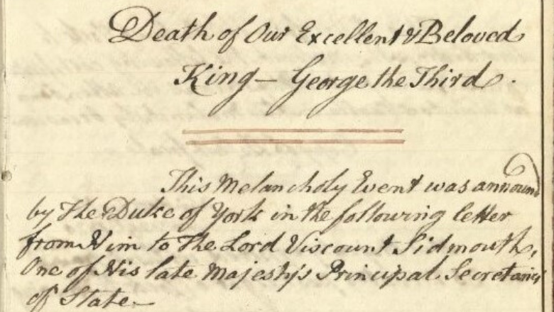 Official document George III death