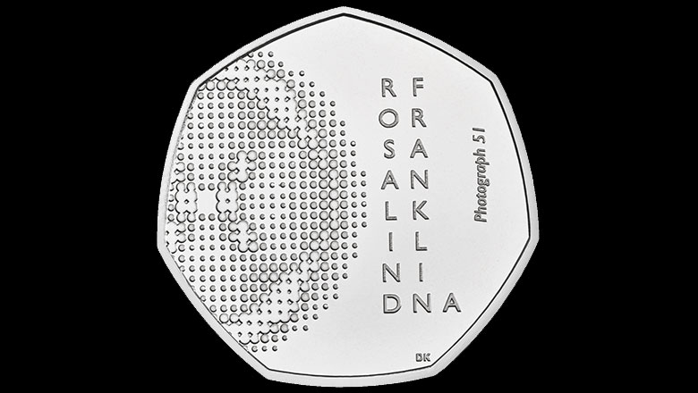 Image of the Royal Mint's Rosalind Franklin 100th anniversary coin reverse (Brilliance)