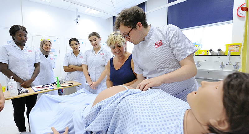 Students learning in the midwifery simulation ward