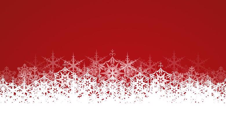 White snow flake pattern on red background