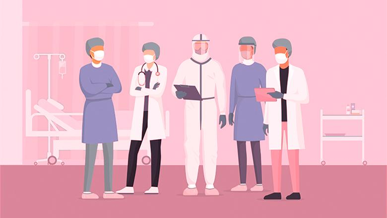 Graphic of healthcare workers in protective clothing
