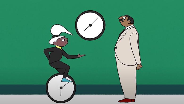 child on a unicycle next to a clock and adult male