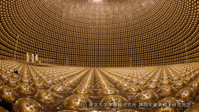 The inside of the Super-Kamiokande detector
