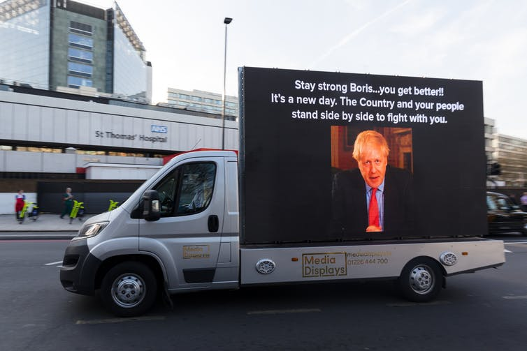A message wishing Boris Johnson well following COVID19 diagnosis