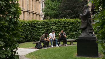 Students outside the Maughan Library at King's College London