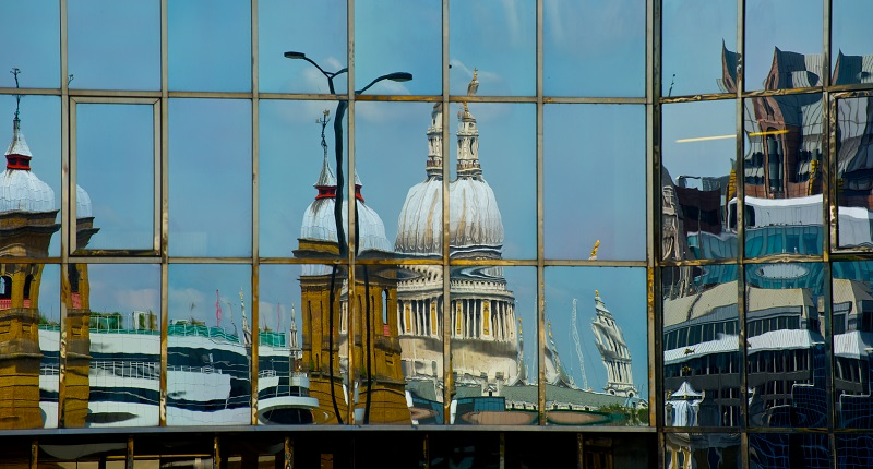 St Paul's reflected in a window along the River Thames
