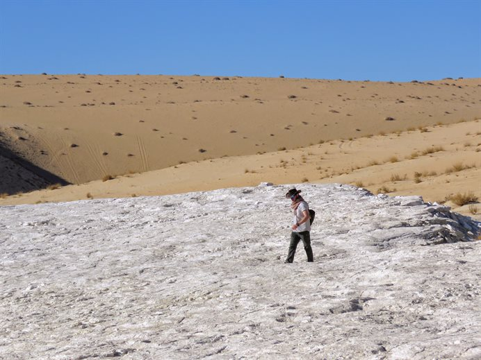 Paul Breeze surveying the Alathar ancient lake deposit for footprints.