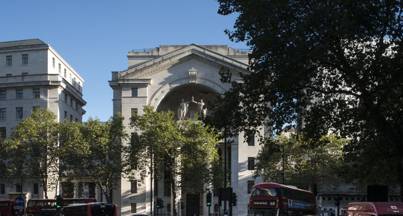 The outside of Bush House, London