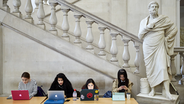 Students working on laptops, King's College London