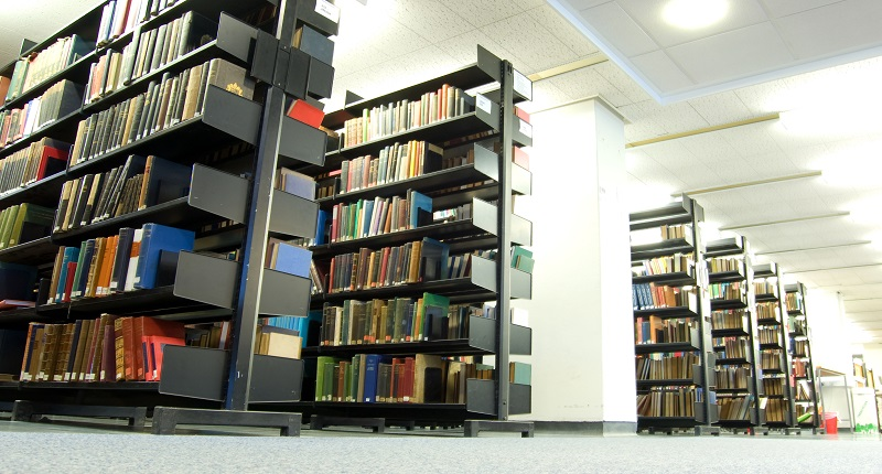 Shelving and books in a library