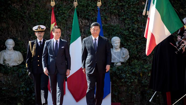 President Xi Jinping and Italian Prime Minister Giuseppe Conte at signing of trade deal