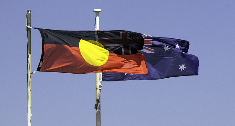 Australian national and aboriginal flags
