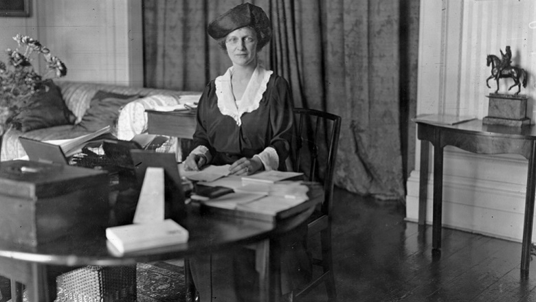 Nancy Astor in her office in the House of Commons
