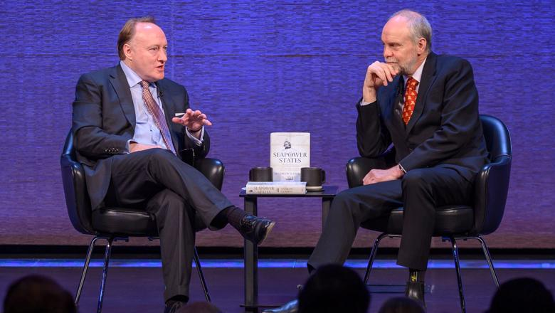 Professor Lambert (right) in conversation with Committee Chairman Andrew Roberts at the Prize Ceremony on October 28th 2019. (Image by courtesy of photographer Howard Heyman and the New York Historical Society).