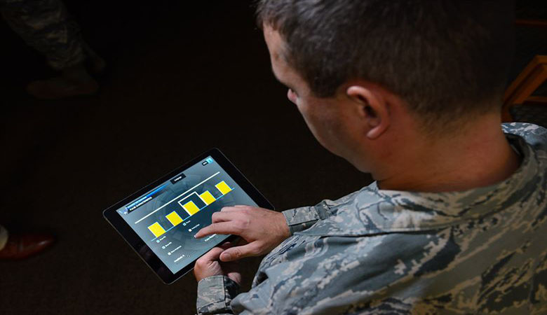 Soldier on a tablet computer