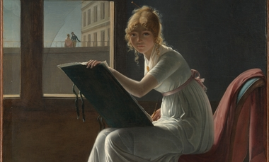 Young woman drawing thumb